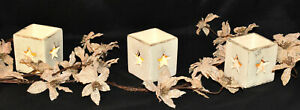 Tea Light Candle Holder Painted Terracotta Candle Jar with Star Cutouts New