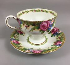 Paragon Tapestry Rose Fine Bone China Gold Leaf Trim Cup & Saucer 1940s