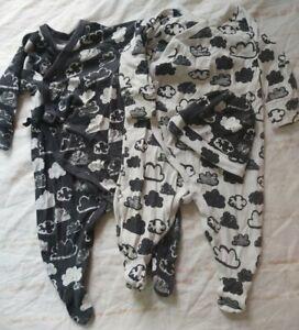 Next Babygrow Sleepsuit Bundle Age 3-6 Months Black White Clouds