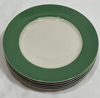 "Syracuse China 8-C USA Green Border Round Dinner Plates 10 3/4"" (Set of 5)"