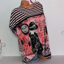 Damen T-Shirt Bluse Top Tunika Glitzer Print 46 48 50