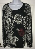 Harold's Silk Cotton Black White Red Floral L/S Knit Top Thin Sweater Size XL