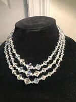 "Vintage 1940 to 60s aurora borealis Crystal 17"", 3 strand necklace"