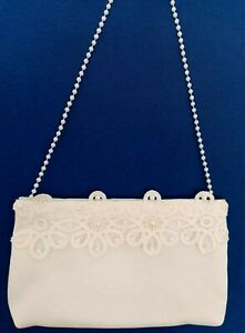 Brauttasche mit Blume Perle Braut Tasche creme z. Brautkleid Hochzeit