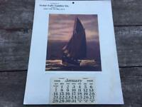 1906 Cedar Falls Dike Lumber Co Calendar w Wesley Webber Sailboat Print IOWA