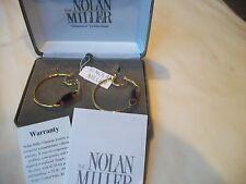 NOLAN MILLER Earrings BIG Hoop GLAMOUR Pierced Amber Austrian CRYSTALS NEW
