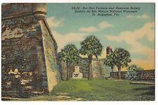 HOT SHOT FURNACE CASTILLO de SAN MARCOS St. AUGUSTINE Florida LINEN POSTCARD