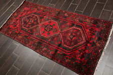 "3'8"" x 9'2"" Vintage Hand Knotted Hamadann Wool Traditional Area Rug runner Red"