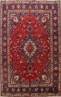 Vintage Floral Traditional Area Rug Hand-Knotted Oriental Red Wool Carpet 9x11