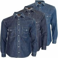 New Mens Double Chest Pocket Denim Shirt Long Sleeves Collar Cotton Casual Top