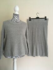 Ladies Grey Ribbed Long Sleeve Jumper & Matching Skirt Size 12 From Brave Soul