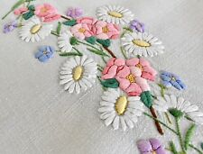 More details for vintage stunning hand embroidered linen tablecloth wild roses & daisies