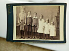 Cabinet Card Photo 6 Cute Siblings 3 Boys 3 Girls Lined Up in Row PITTSFIELD MA