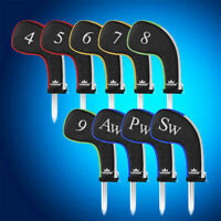 Colorful Quality Leather Craftsman Golf Club Iron Covers HeadCovers Zipper 9PCS