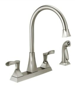 Delta 21741LF-SS Everly 2Handle Standard Kitchen Faucet w/Side Sprayer Stainless