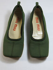 Women's MIU MIU green slip on/Loafers flats Size 35.5-U.S. 5.5 made in ITALY$345