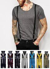 Bretelle uomo accessori strette slim pantaloni Suspenders nere blu marroni