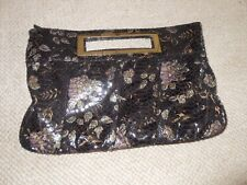 Atmosphere Clutch hand bag with floral print & glitter accents