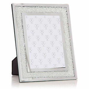 New Mirrored Photo Frame filled with Swarovski Crystals Holds 6x4 Picture Modern
