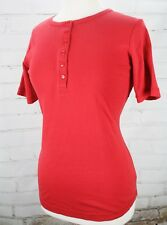 Duluth Trading Longtail T Short Sleeve Henley Shirt Women's Size XS Red Cotton