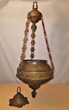 Vtg Hanging Parlor Oil Lamp Brass Parts Unusual/Unique Chain~Acorn Finials~B&H?