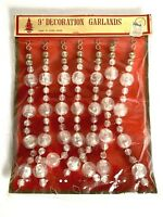 Vintage Faux Crystal Plastic Christmas Garland 9Ft Hanging Beads B. Altman Store