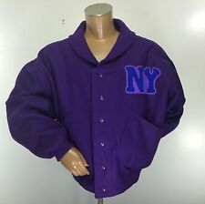 NY BLACK YANKEES Negro Baseball League Museum Wool Varsity Jacket XXL 2XL Purple
