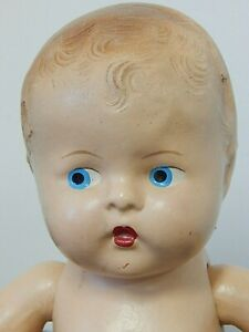 Vintage 1930-40s Unmarked All Composition Jointed Baby Doll, Painted Eyes & Hair