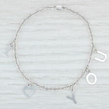 "I Heart You Charm Bracelet 14k White Gold 8"" Cable Chain I Love You"