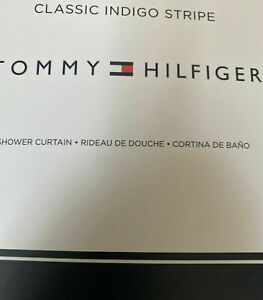 Tommy Hilfiger Classic Indigo Stripe Ivory Beige Fabric Shower Curtain 72x72