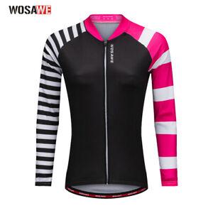 Women Long Sleeved Cycling Jerseys Breathable Full Zip Biking Tops Bicycle Shirt