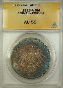 1913-A Germany-Prussia 5M Five Marks Silver Coin ANACS AU-55 Nicely Toned
