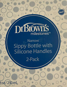Dr. Brown's Milestones Narrow Sippy Bottle with Silicone Handles Two Pack B