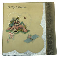 Vtg 1936 Carrington Parchment Valentine Woman in Pink w/ Real Ribbon Silver