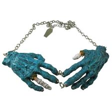 Blue Zombie Hands Necklace Halloween Horror Jewelry Kreepsville 666