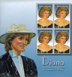 MODERN GEMS - Sierra Leone - Princess Diana of Wales - Sheet of 4 - MNH