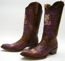 WOMENS GAMEDAY LSU PURPLE GOLD EMBROIDERED BRN LEATHER COWBOY WESTERN BOOTS 9 B
