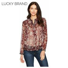 Lucky Brand Sheer Peasant Tie Top