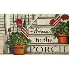 New PORCH WELCOME Floor Mat Rug Non Skid Country Primitive Flowers Pots Flag