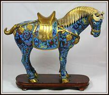 "ROYAL PALACE ""Gilt Bronze Cloisonne Tang Horse"" ZODIAC w Stand (13"" H x 14.5"" W)"