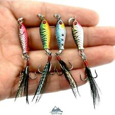 Lot 4pcs Hard Metal Fishing Lures Mini Minnow Lure Trout Bass Crank Bait Tackle