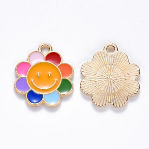 10 Bright Smiley Face Rainbow Sunshine Flower Shaped Gold Plated Charm Pendants