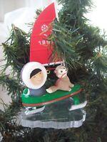Hallmark Keepsake Frosty Friends #18 Cat Ornament Ed Seale Ice Boat circa 1990s