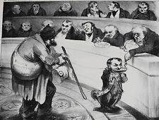 Honore Daumier (France 1808-1879) Lithograph Titled Pour un pauvre Americain