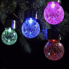 7 Color Changing LED Solar Garden Hanging Light Crackle Glass Lantern Ball Patio