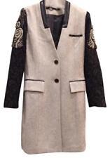 Retail $1,550 Kris Van Assche Leather Trim Beaded Sleeve Wool Trench Coat (40)