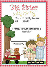 Big Sister Certificate - Personalised Gift for Older Sibling  - Boy or Girl Baby