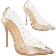 Señoras para mujer Zapatos De Taco Alto Puntera Puntiaguda Diamante PERSPEX Tribunal Zapatos Talla