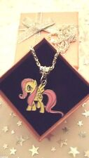 MY LITTLE PONY FLUTTERSHY CHARM NECKLACE STRONG CHAIN AGE 3,4,5,6,7,8 GIFT BOX