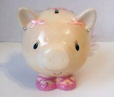 """Pink Tutu Ceramic Piggy Bank CUTE 6"""" x 6"""""""